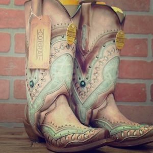 Corral Orix/Turquoise Leather 2in1 Boots Size 5